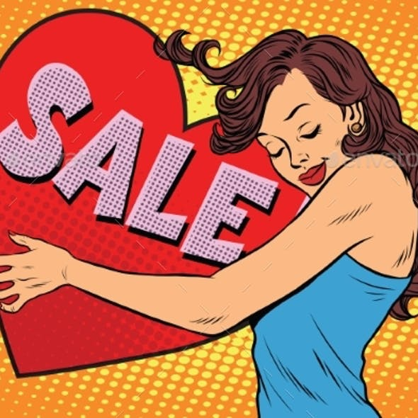 Young Woman Hugging Sale Valentine Heart