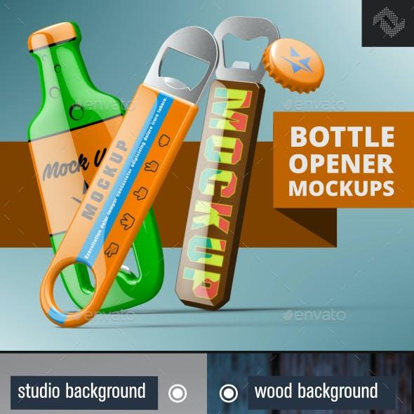 3 Beer Bottle Opener & Crown Cap Mockups