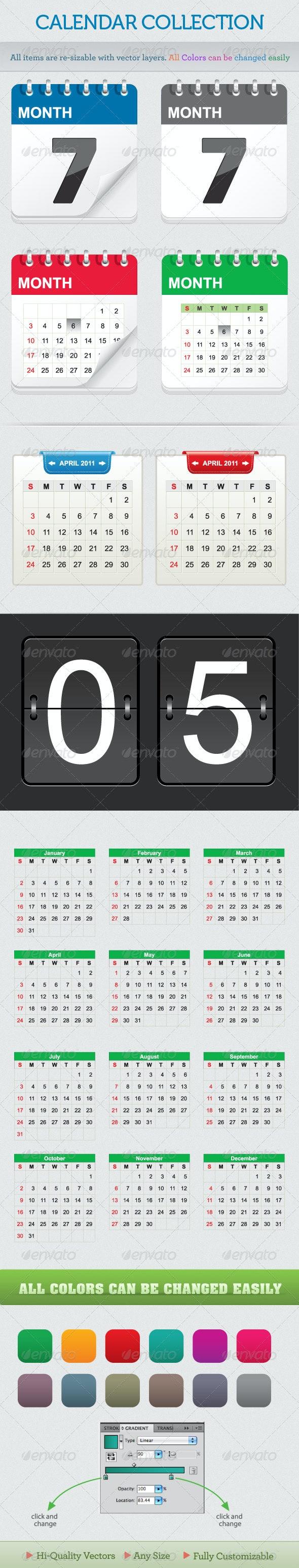 Calendar Collection - Web Elements Vectors