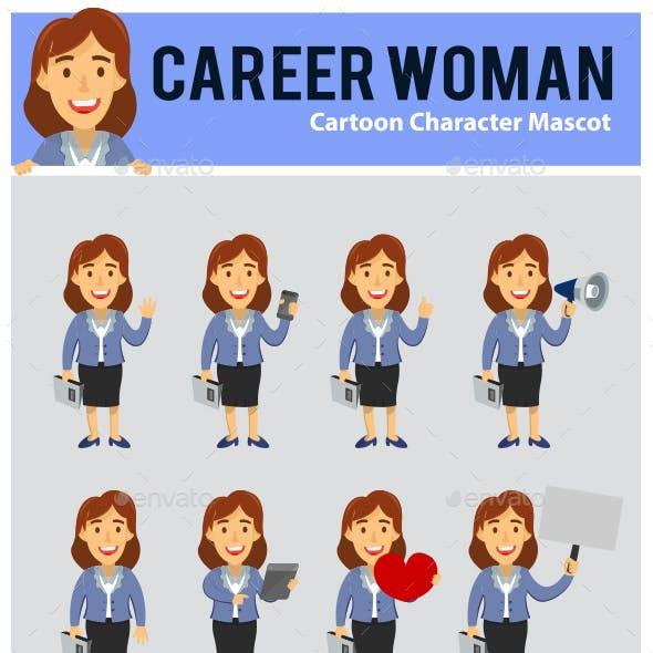 Career Woman Cartoon Mascot