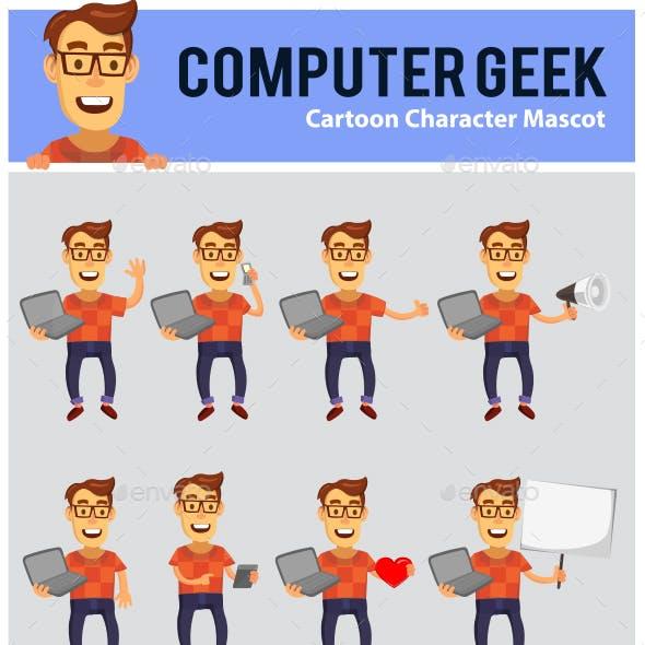 Computer Geek Cartoon Mascot