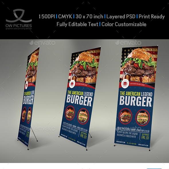 Burger Restaurant Signage Roll Up Banner Vol.8