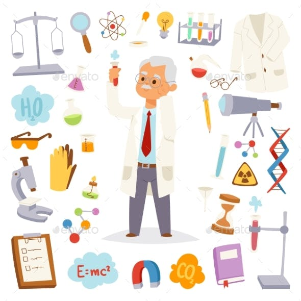 Science Man Professor Lab Icons Vector