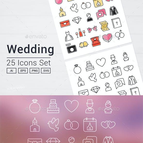 Wedding Day Icons Set