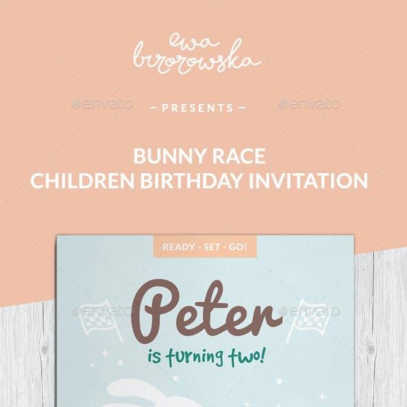 Bunny Race Children Birthday Invitation Card
