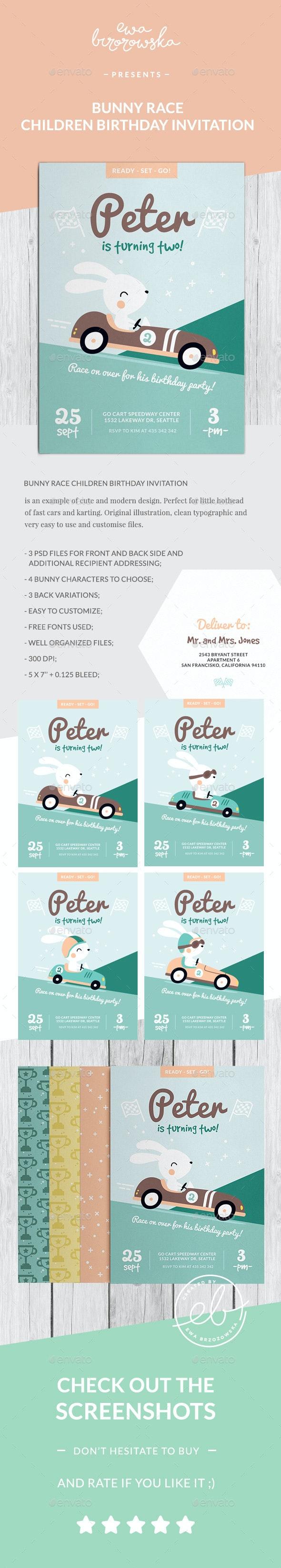 Bunny Race Children Birthday Invitation Card - Invitations Cards & Invites