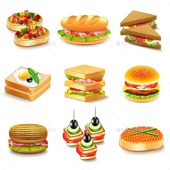 Sandwiches Icons Vector Set