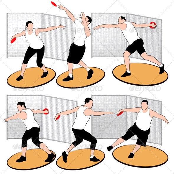 Set of discus throwing athletes - Sports/Activity Conceptual