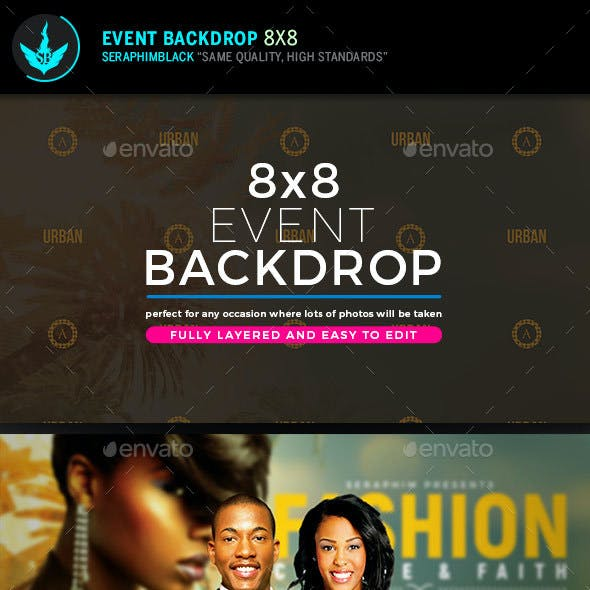 Tropical 8x8 Event Backdrop  Template