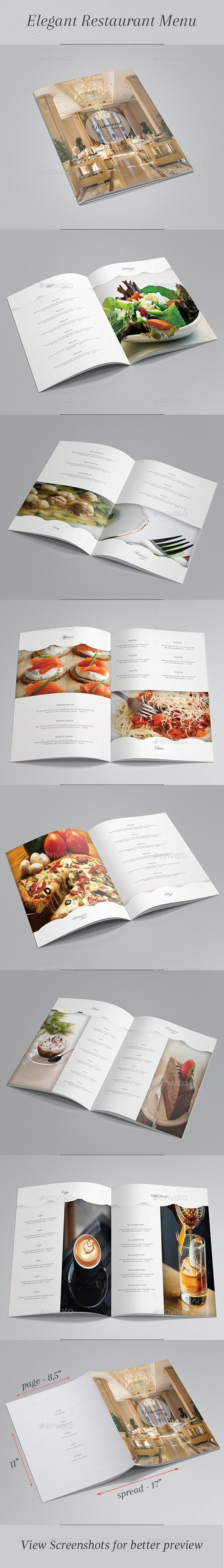 Elegant Restaurant Menu - Food Menus Print Templates