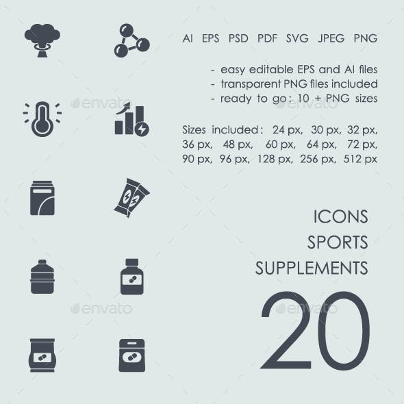 Sports supplements icons