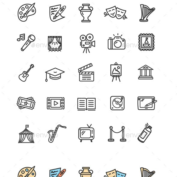 Culture and Creative Fine Art Icons Set