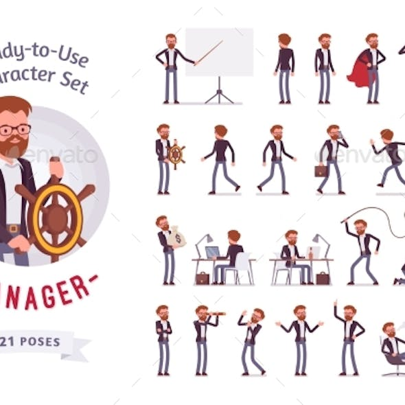Ready-to-Use Male Manager Character Set