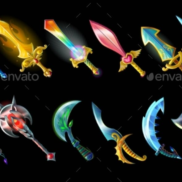 Cartoon Weapon Icons Set