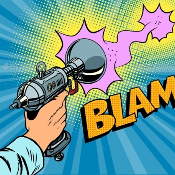 Blam Science Fiction Shot of a Blaster Comic Cloud