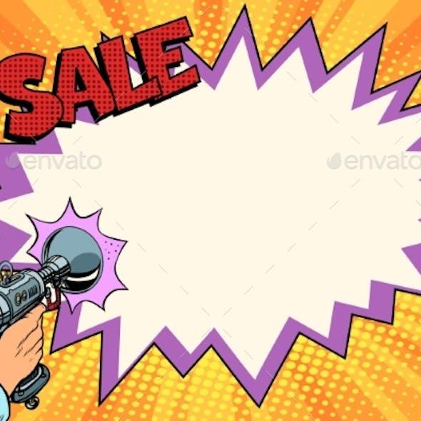 Sale Comic Cloud Science Fiction Shot of a Blaster