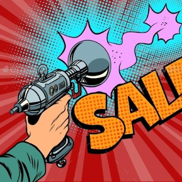 Sale Inscription Science Fiction Shot of a Blaster