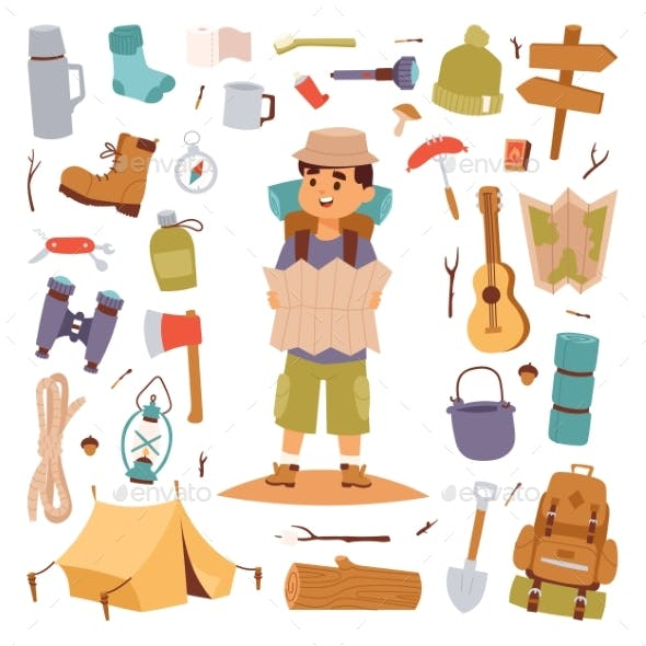 Camping Outdoor Travel Tourist Man Holding Map and