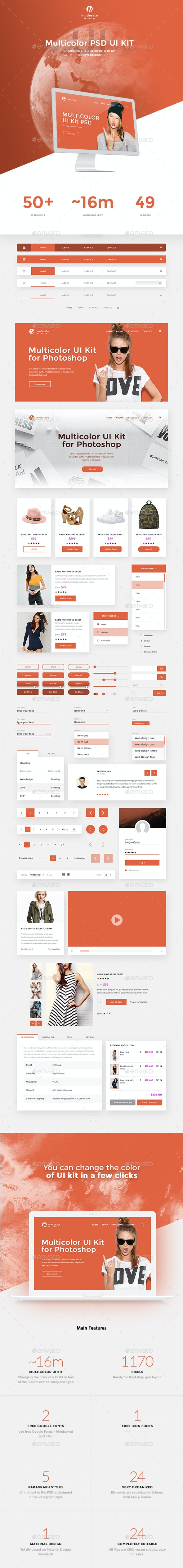 Moderate - Multicolor UI-Kit PSD
