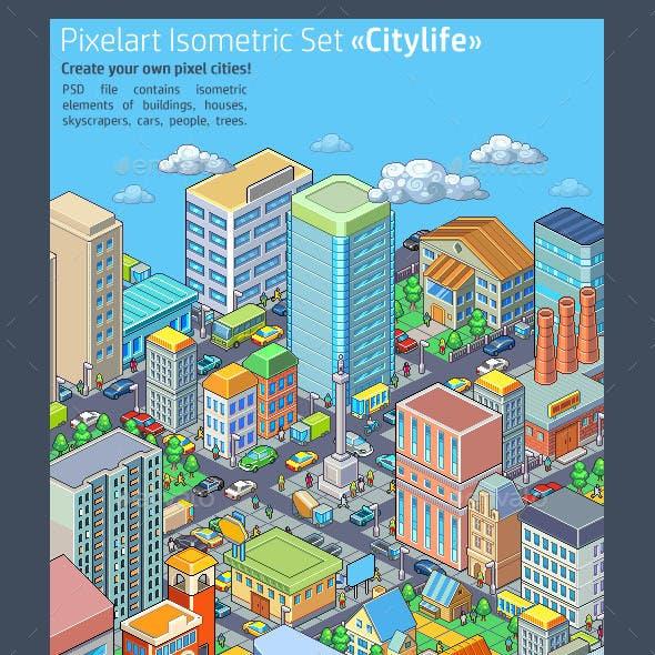 "Pixelart Isometric Set ""Citylife"""