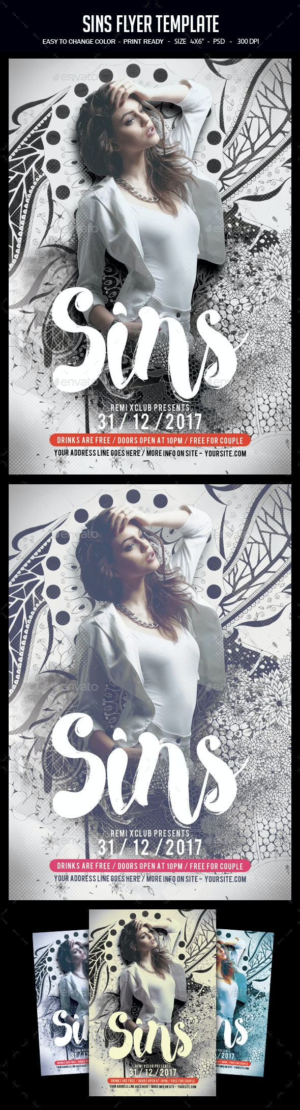Sins Flyer Template - Clubs & Parties Events