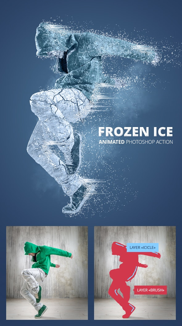 Frozen Ice Gif Animated Photoshop Action - Photo Effects Actions