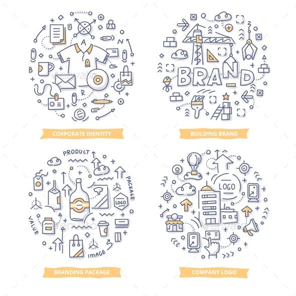 Branding Doodle Illustrations - Concepts Business