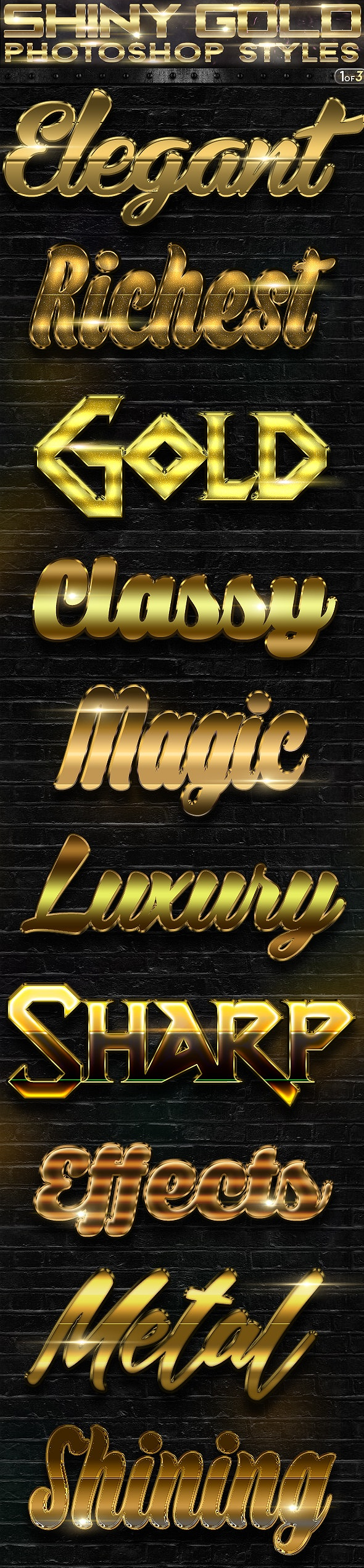 Shiny Gold Photoshop Styles 1of3 - Text Effects Actions