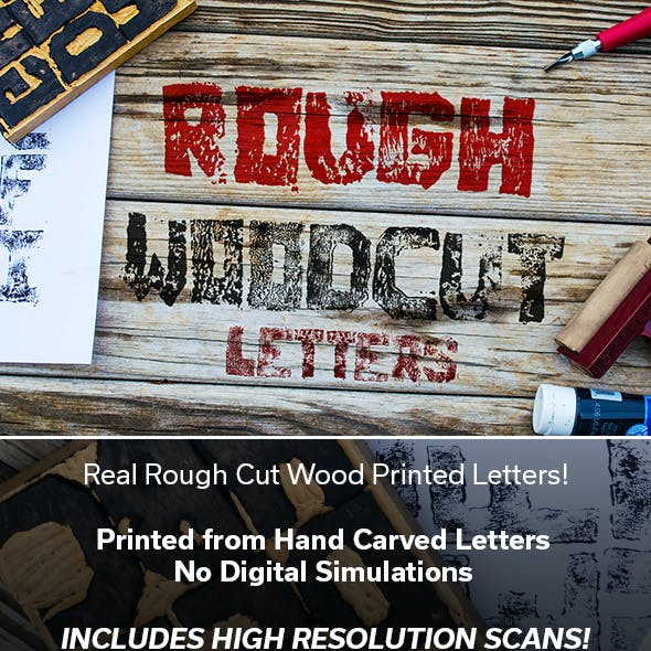 Rough Cut Wood Printed Letter Brushes