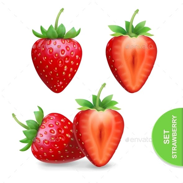 Realistic Strawberry Icons Set