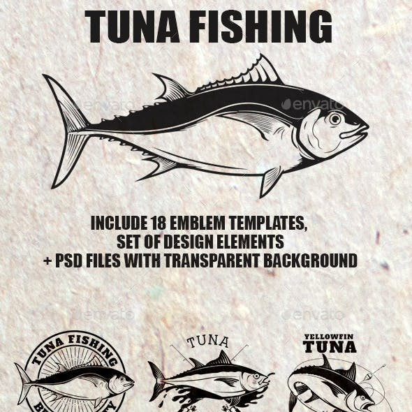 Set of Tuna Fishing Label and Design Elements