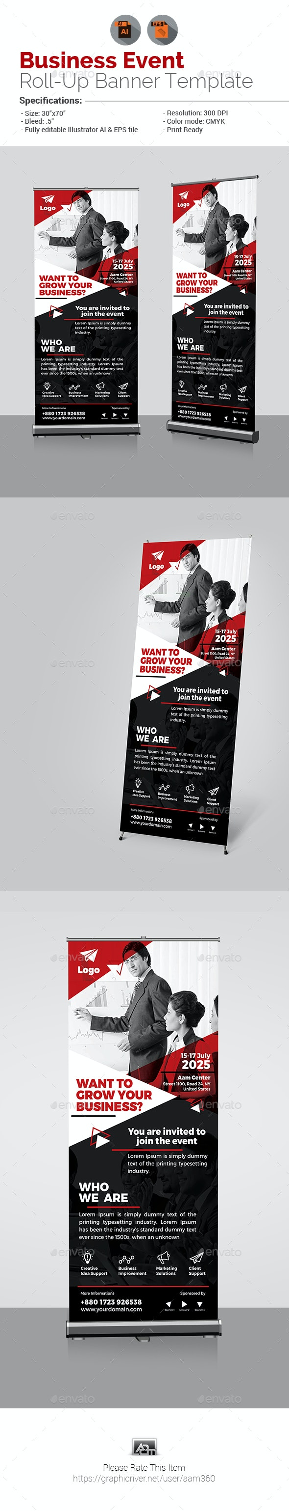 Business Event Roll-Up Banner - Signage Print Templates