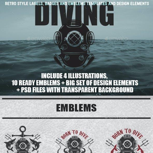 Set of Vintage Diver Helmets, Diver Label Templates and Design Elements