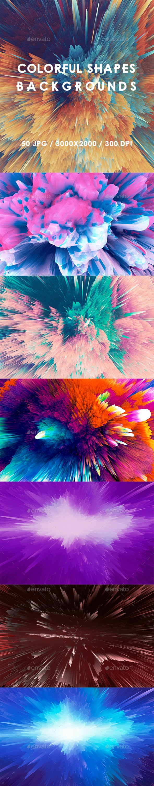 50 Colorful Shapes Backgrounds - Abstract Backgrounds