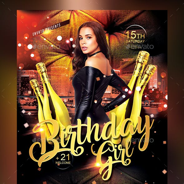 Birthday Girl Flyer Template