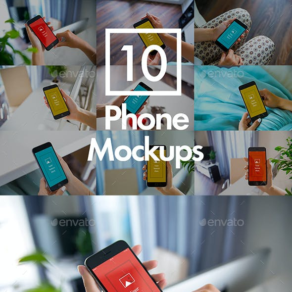 10 Phone Mockups Bundle
