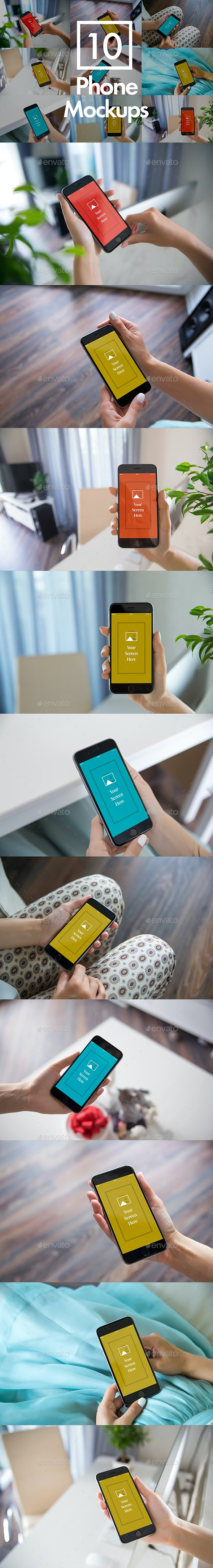 10 Phone Mockups Bundle - Mobile Displays