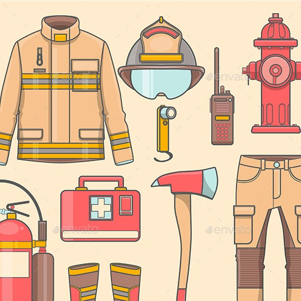 Fireman Uniform and First Help Equipment Set and Instruments