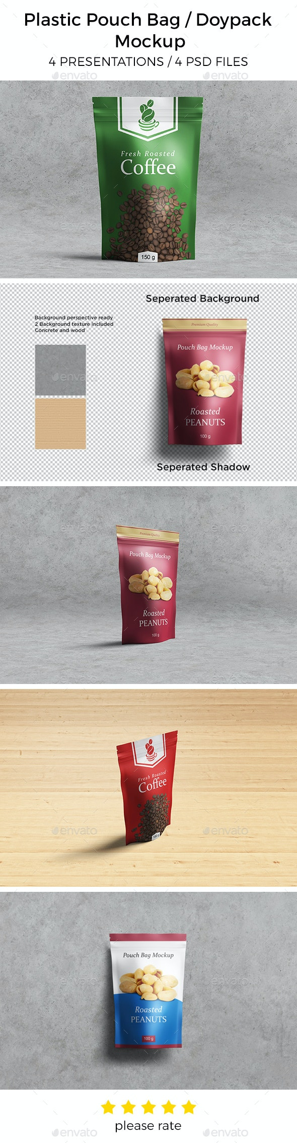 Plastic Pouch Bag / Doypack Mockup - Food and Drink Packaging