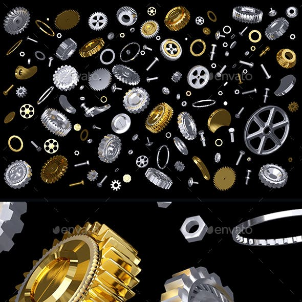 3D rendering of silver and gold gears set