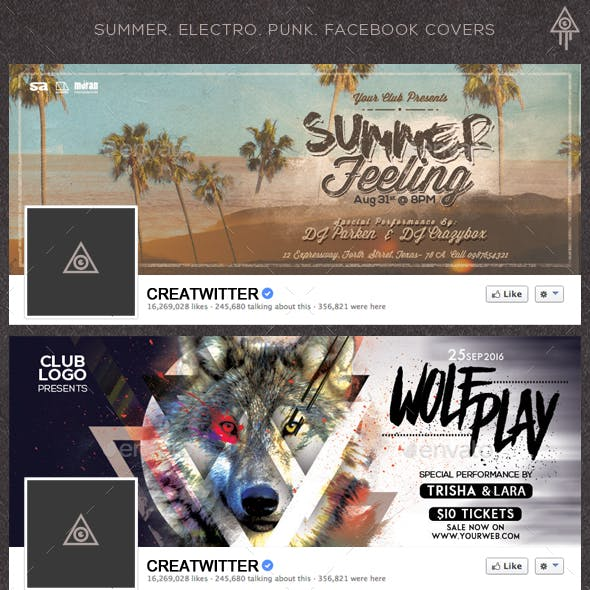 Summer. Electro. Punk. Facebook Covers