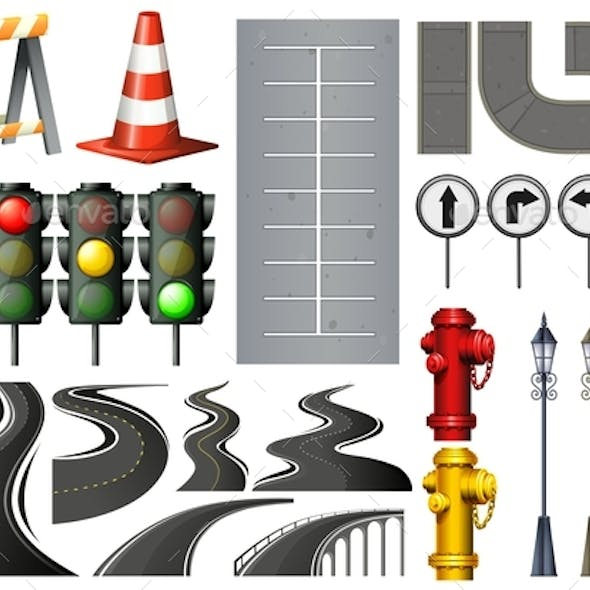 Different Items and Safety Equipment for Traffic