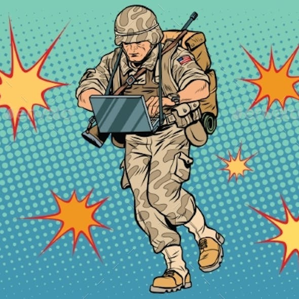 Cyber Soldier with a Computer