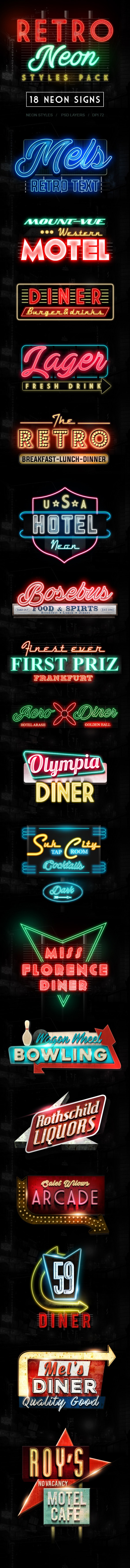 Retro Neon Styles Pack - Text Effects Styles