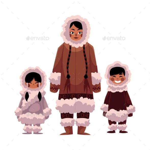 Eskimo, Inuit Woman with Two Kids in Warm Winter