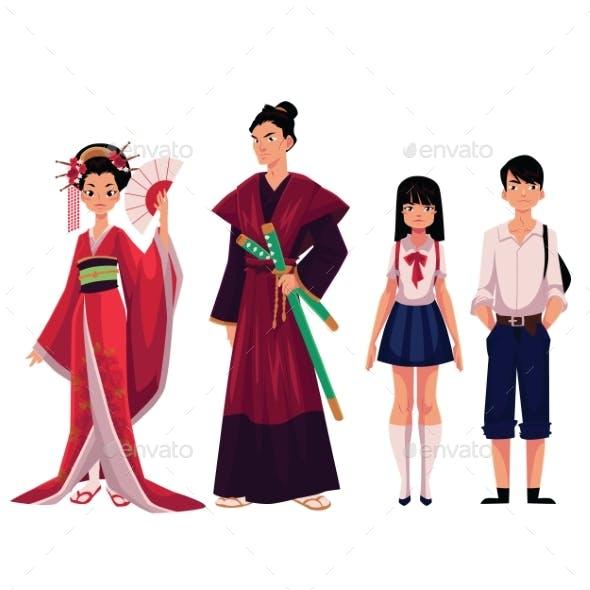 Japanese People - Geisha and Samurai, Typical