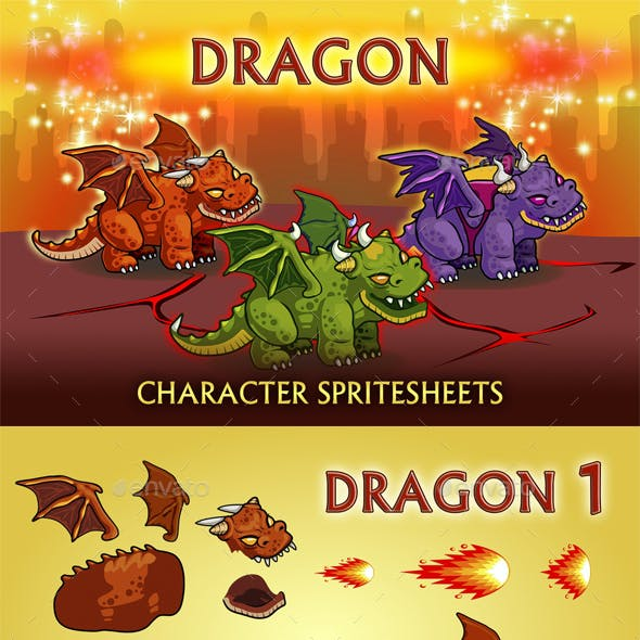 Dragon 2D Game Character Sprite Sheet