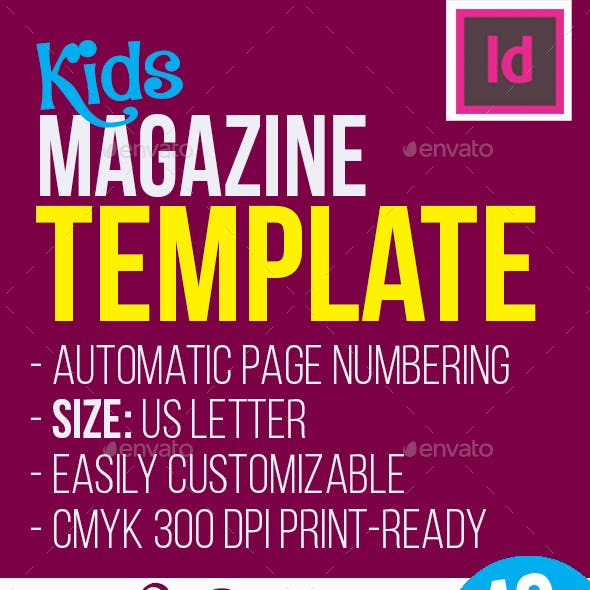 Indesign Kids Magazine Template Graphics Designs Template