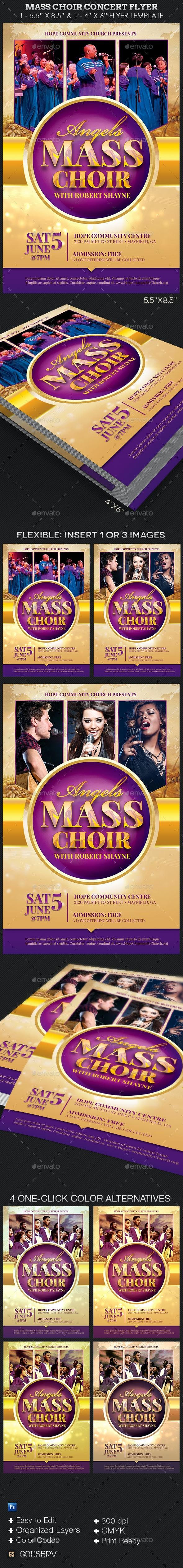 Mass Choir Concert Flyer Template - Church Flyers