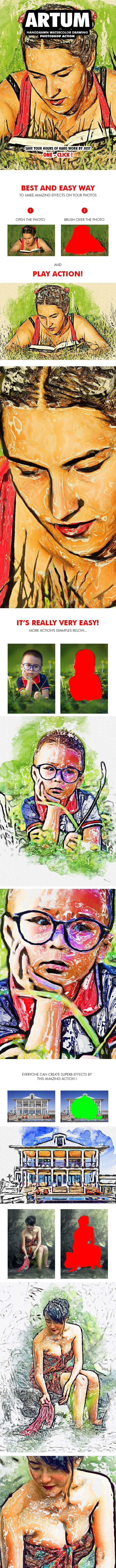 Artum - Handdrawn Watercolor Drawing Photoshop Action - Photo Effects Actions